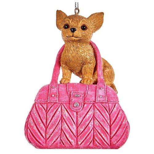 Елочная игрушка Goodwill Малыш Чихуахуа 10 см (MC 30227) розовый/коричневый.