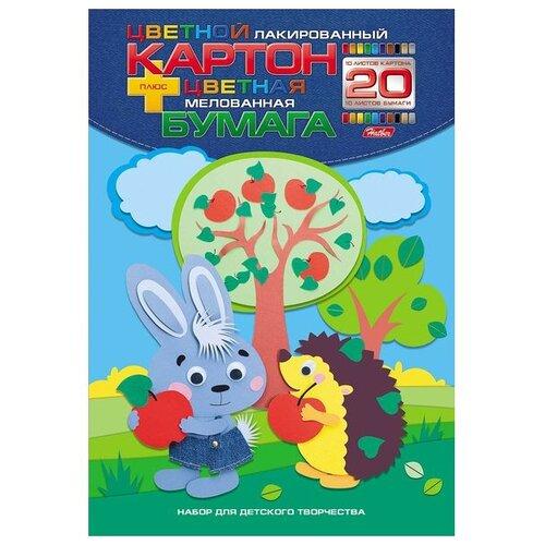 Купить Набор цветного картона и цветной бумаги Лесные друзья , А4, 20 листов, 10 цветов, Hatber, Цветная бумага и картон