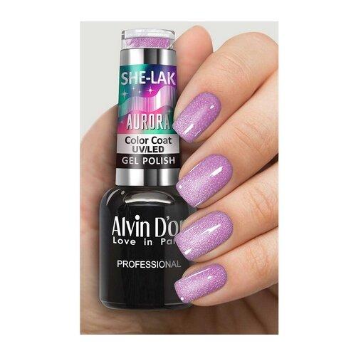 Гель-лак для ногтей Alvin D'or She-Lak Aurora, 8 мл, оттенок 7016 гель лак patrisa nail dream pink 8 мл оттенок n3 бежевый