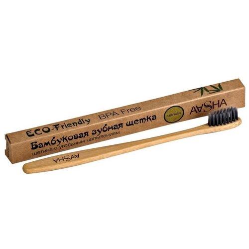 Зубная щетка Aasha Herbals бамбуковая мягкая, натуральный