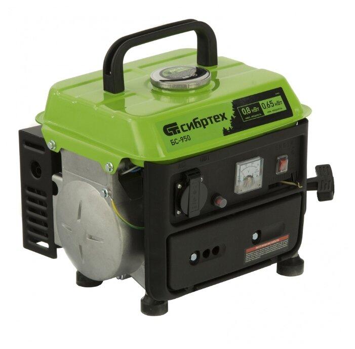 Генератор бензиновый БС-950, 0,8 кВт, 230 В, 2-х тактный, 4 л, ручной стартер Сибртех - Характеристики - Яндекс.Маркет (бывший Беру)