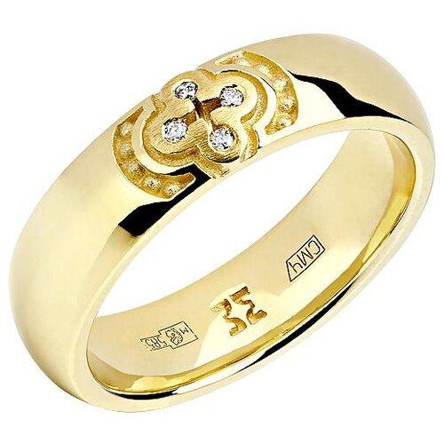 Эстет Кольцо с 4 бриллиантами из жёлтого золота 01О630332, размер 19