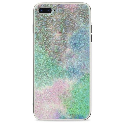 Кожаный чехол с защитным силиконовым бампером для iPhone 7 Plus и 8 Plus / Глянцевая накладка с рельефной эко-кожей на Айфон 7 Плюс и 8 Плюс (Сиреневый)