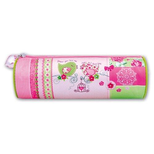 Феникс+ Пенал-тубус Птички-пэчворк (34796) розовый/зеленый