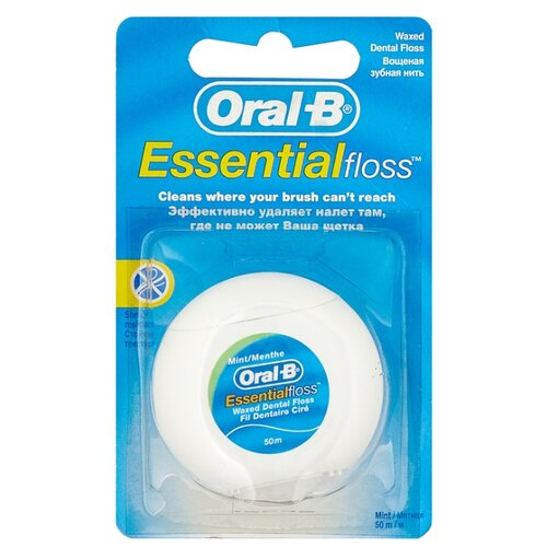 Oral-B зубная нить Essential вощеная рокс нить зубная флосс н тосс мятная вощеная 40шт