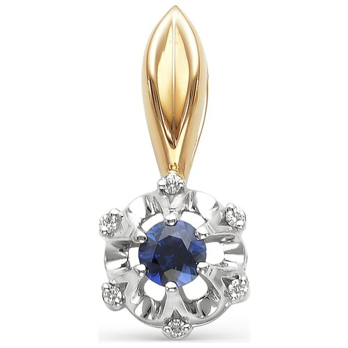 АЛЬКОР Подвеска Цветок с сапфиром, бриллиантами из красного золота 3594-102