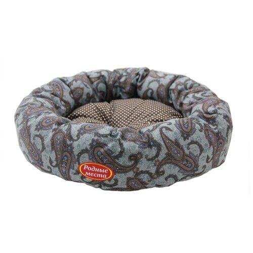 Лежак для собак и кошек Родные места Ватрушка Огурцы 50х50х15 см серый