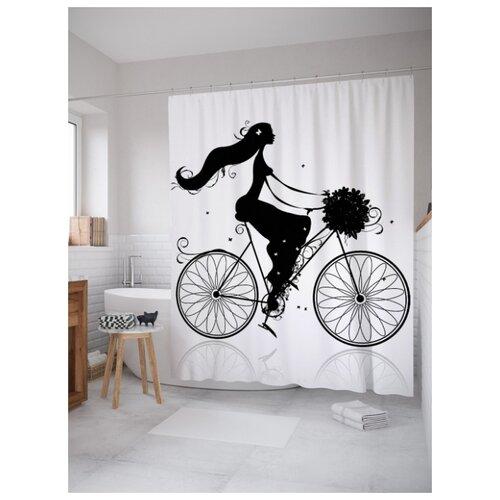 Штора для ванной JoyArty Девушка на велосипеде 180х200 (sc-61469) разноцветный