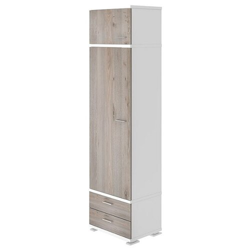 Шкаф-пенал для одежды Мэрдэс Домино Нельсон КС-10, (ШхГхВ): 55.3х42.7х213 см, белый жемчуг/нельсон