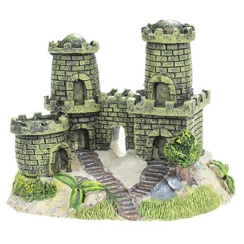 Фото - Фигурка для аквариума Prime Замок с двумя башнями PR-CH1008 13х8х10 см серый/коричневый/зеленый набор полесье замок башня замок стена с двумя башнями замок мост 37251