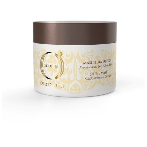 Barex Olioseta Oro Di Luce Маска-блеск с протеинами шелка и семенем льна Shine Mask для волос, 500 мл фото