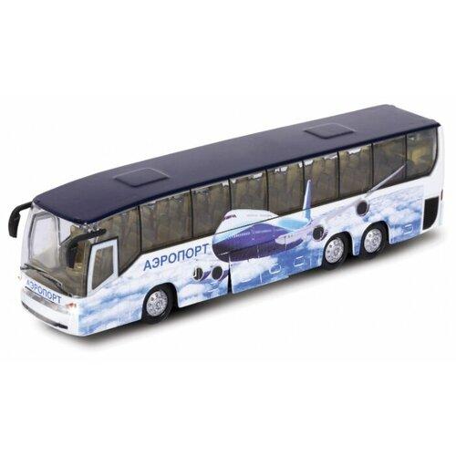Фото - Автобус ТЕХНОПАРК Аэропорт (CT10-025) 1:43 белый/голубой машины технопарк автобус инерционный со светом и звуком 18 5 см ct10 025 2