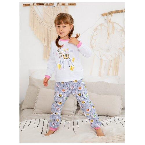 Купить Пижама Веселый Малыш размер 98, белый/серый/розовый, Домашняя одежда