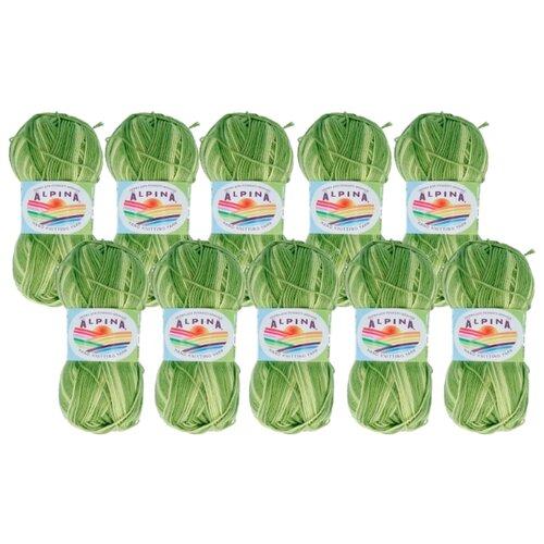 Пряжа Alpina Katrin, 100 % хлопок, 50 г, 140 м, 10 шт., №300 яр.салатовый-св.салатовый  - купить со скидкой