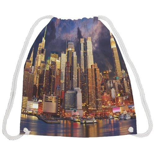 Купить JoyArty Сумка-рюкзак Вечерний город (bpa_9619) коричневый/фиолетовый, Мешки для обуви и формы