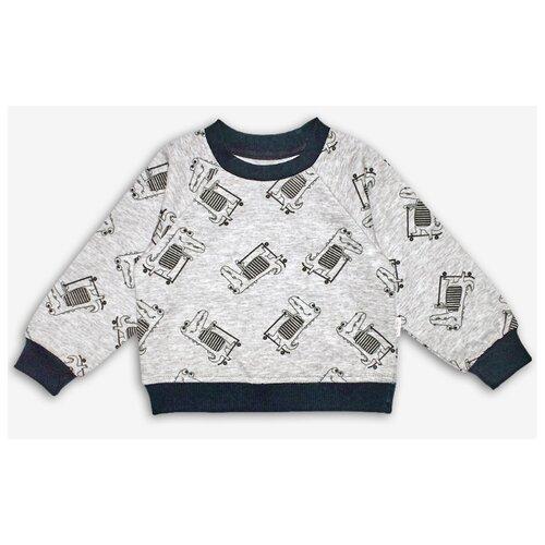 Свитшот Веселый Малыш размер 98, серый, Толстовки  - купить со скидкой