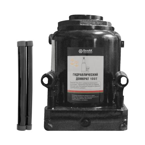Домкрат бутылочный гидравлический БелАвтоКомплект БАК.00052 (100 т) черный домкрат бутылочный гидравлический белавтокомплект бак 10039 2 т черный