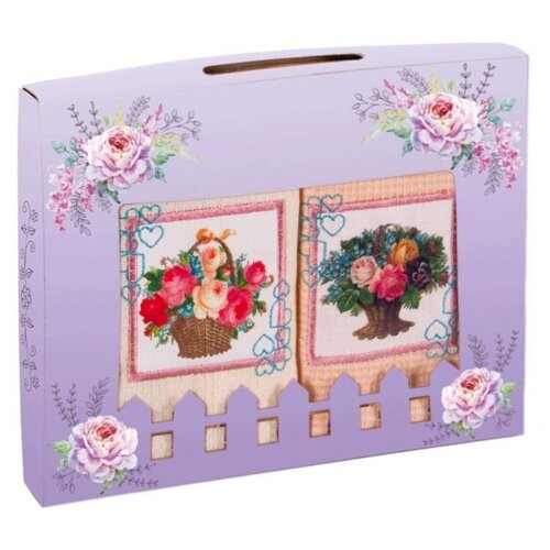 Florento Набор полотенец Цветы кухонное 50х60 см персик/бежевый