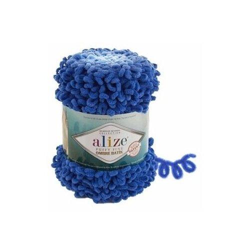 Купить Пряжа Alize Puffy Fine Ombre Batik, 100 % полиэстер, 500 г, 73 м, 7280 васильковый