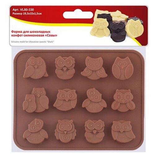 Форма для конфет Мультидом Совы, 12 ячеек коричневый по цене 174