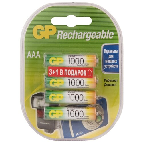 Фото - Аккумулятор Ni-Mh 950 мА·ч GP Rechargeable 1000 Series AAA 4 шт блистер зарядное устройство makita dc18rc 7 2 18в ni mh 14 4 18в li ion