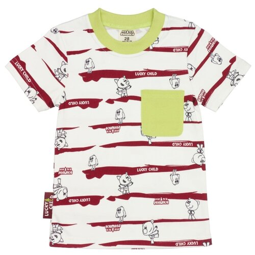 Футболка lucky child Ми-ми-мишки, размер 22 (68-74), красный/белый платье oodji ultra цвет красный белый 14001071 13 46148 4512s размер xs 42 170