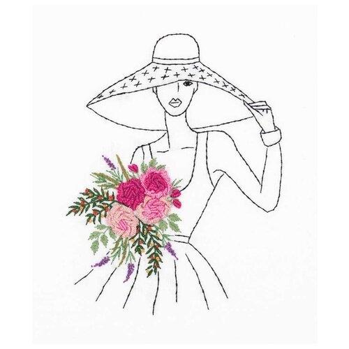 Купить PANNA Набор для вышивания гладью Дама в шляпке 15 х 18 см (JK-2171), Наборы для вышивания