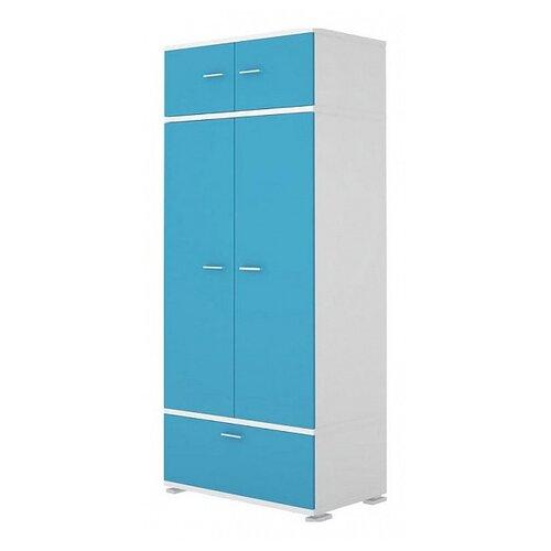 Шкаф для детской Мэрдэс Домино Нельсон КС-20, (ШхГхВ): 90х57.1х213 см, синий мрамор/белый жемчуг