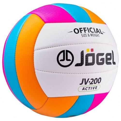 Волейбольный мяч Jogel JV-200 оранжевый/голубой/розовый/белый