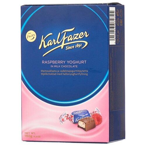 Набор конфет Fazer Karl Fazer из молочного шоколада с малиновым йогуртом 150 г синий/розовый karl fazer молочный шоколад вкус мяты и драже из молочного шоколада 130 г