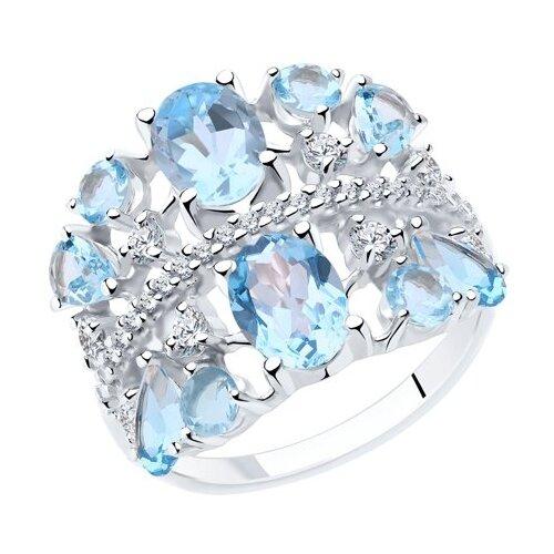 Diamant Кольцо из серебра с топазами и фианитами 94-310-00466-1, размер 17 фото