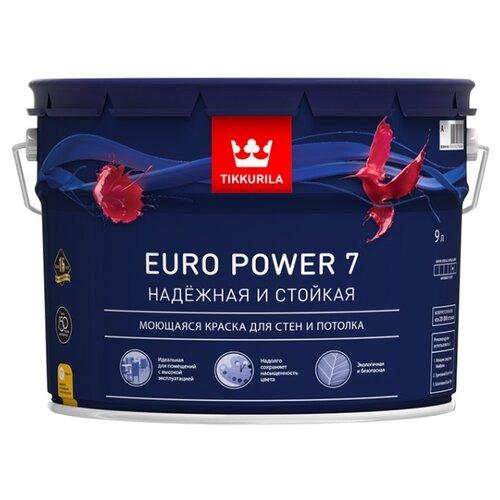 Краска Tikkurila Euro Power 7 (База C) для детской моющаяся матовая бесцветный 9 л
