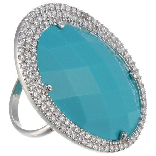 цена на JV Кольцо с фианитами и бирюзой из серебра 4366-TQ-001-WG, размер 17