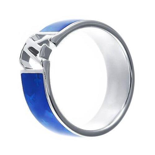 JV Кольцо с эмалью из серебра SL10094B1-KO-ENAM-001-WG, размер 17 фото