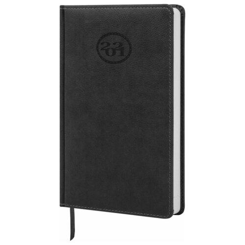 Купить Ежедневник BRAUBERG Favorite датированный на 2021 год, искусственная кожа, А5, 168 листов, черный, Ежедневники, записные книжки