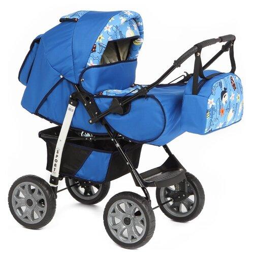 Коляска-трансформер Marimex Sport синий/голубой принт коляска трансформер marimex bemix pcl синий голубой люлька надувные колеса