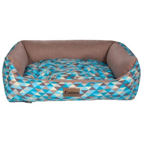 Лежак для собак и кошек Гамма Мозаика прямоугольная медиум 52х45х17 см голубой/бежевый