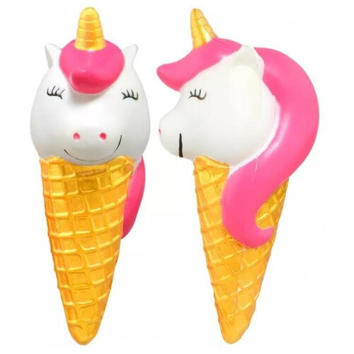 Сквиши игрушка антистресс / Мялка / Мнушка Мороженое единорог (Розовый)