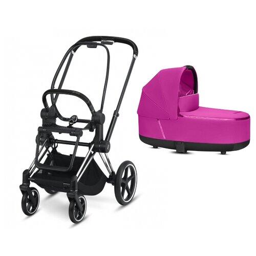 Купить Коляска для новорожденных Cybex Priam III (люлька) fancy pink/chrome/black, цвет шасси: серебристый, Коляски