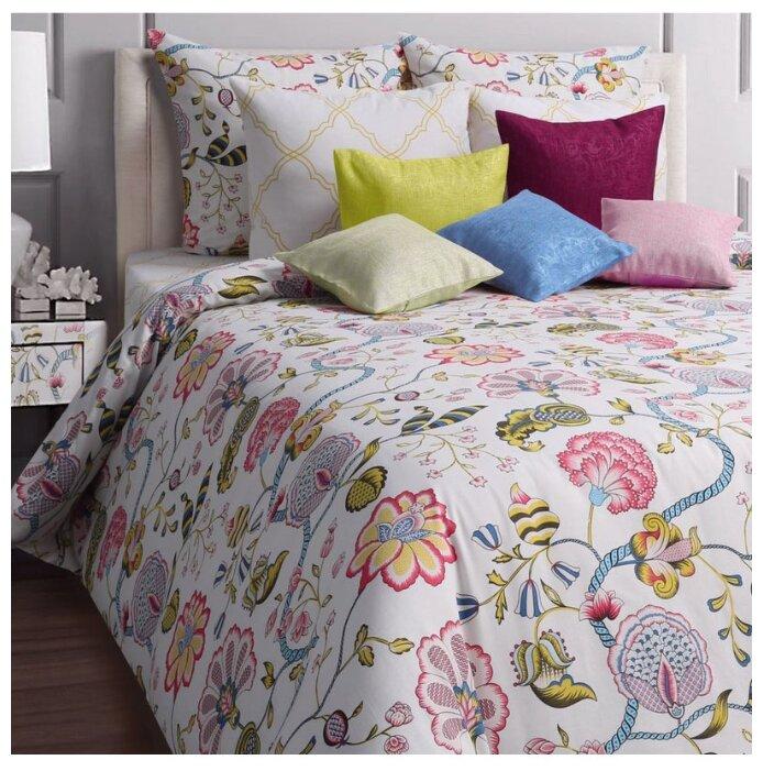 Постельное белье евростандарт Mona Liza Country 50х70 см, бязь белый/розовый