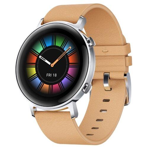 Умные часы c GPS HUAWEI Watch GT 2 Classic 42 mm песочно-бежевый умные часы c gps huawei watch gt classic коричневый