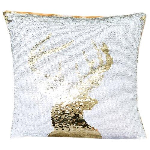 Чехол для подушки Collorista Хамелеон Олень 40х40 см (3132443) белый/золотистый