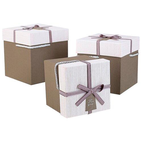 Набор подарочных коробок Yiwu Zhousima Crafts Квадратные, 3 шт бежевый