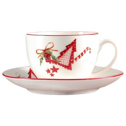 Доляна Чайная пара Счастливого Нового Года 280 мл белый/красный