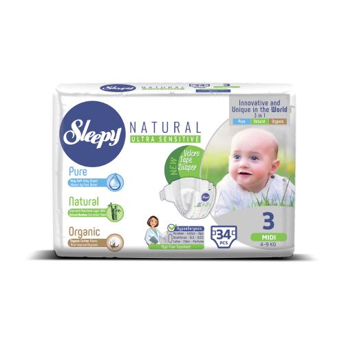 Купить Sleepy подгузники Natural Ultra Sensitive 3 (4-9 кг) 34 шт., Подгузники
