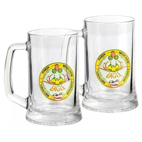 Luminarc Набор кружек для пива Drezden декорированных 500 мл 2 шт прозрачные с рисунком