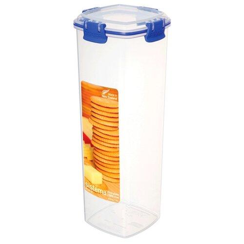 контейнер для печенья sistema 1 8 л 1333 Sistema Контейнер для крекеров Klip It 1333 1.8 л, 11.1x11.1 см, синий/прозрачный