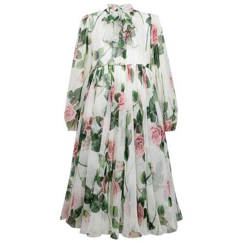 Платье DOLCE & GABBANA размер 128, белый/цветочный принт