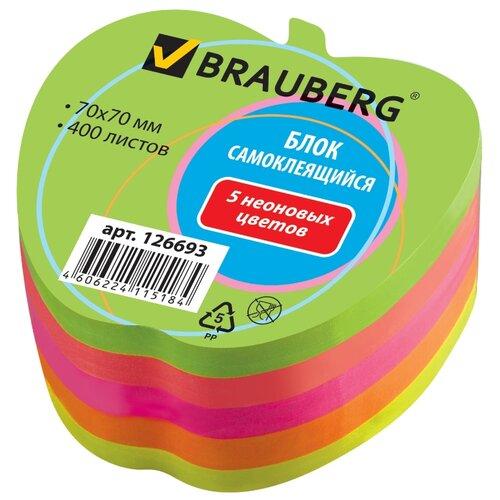 Купить BRAUBERG блок самоклеящийся Неоновый в форме яблока, 70х70 мм, 400 листов, отверстие для ручки (126693) разноцветный, Бумага для заметок
