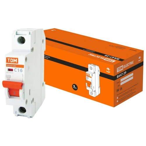 Автоматический выключатель TDM ЕLECTRIC ВА 47-29 1P (C) 4,5kA 16 А автоматический выключатель эра ва 47 29 1p c 4 5ka 16 а